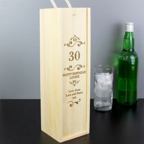 Personalised Elegant Number Wine Bottle Presentation Box